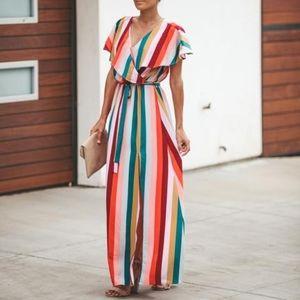 Vici Merry Go Round Multicolor Striped Maxi Dress